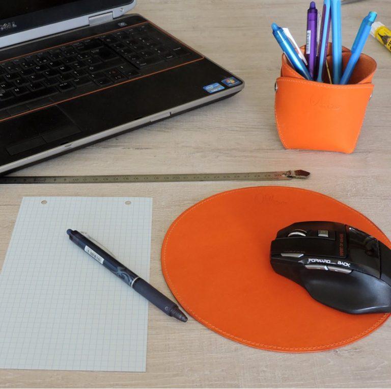 Pot crayon bureau cuir accessoire maroquinerie Lyon