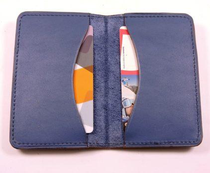Porte cartes bancaire billet cuir maroquinerie Lyon bleu accessoire