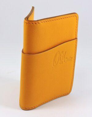 Porte cartes bancaire billet cuir maroquinerie Lyon jaune accessoire