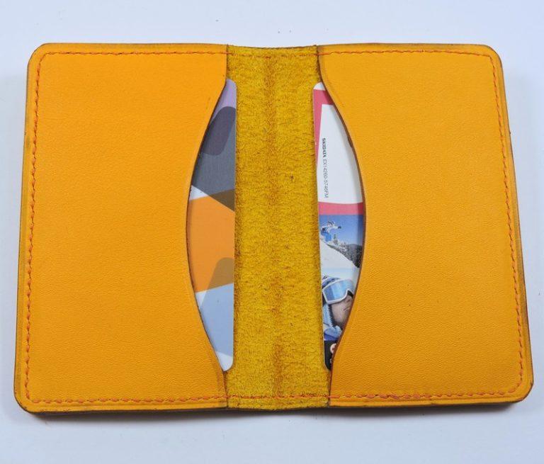 Porte cartes bancaire billet cuir maroquinerie Lyon jaune