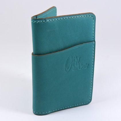 Porte cartes bancaire billet cuir maroquinerie Lyon vert accessoire