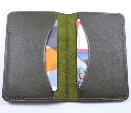 Porte cartes bancaire billet cuir maroquinerie Lyon kaki accessoire