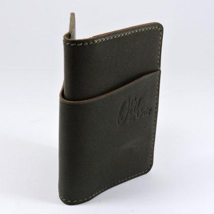 Porte cartes bancaire billet cuir maroquinerie Lyon kaki