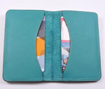 Porte cartes bancaire billet cuir maroquinerie Lyon vert