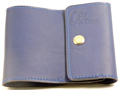 Porte chéquier commercial cuir maroquinerie Lyon bleu marine