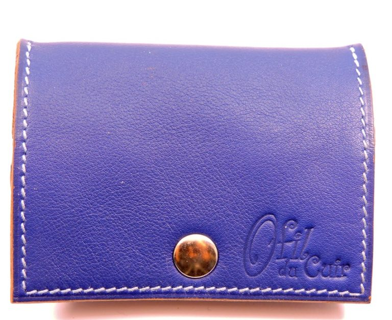 Porte monnaie cuir maroquinerie femme lyon bleu marine accessoire