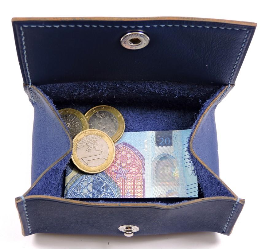 Porte monnaie cuir maroquinerie femme lyon bleu marine