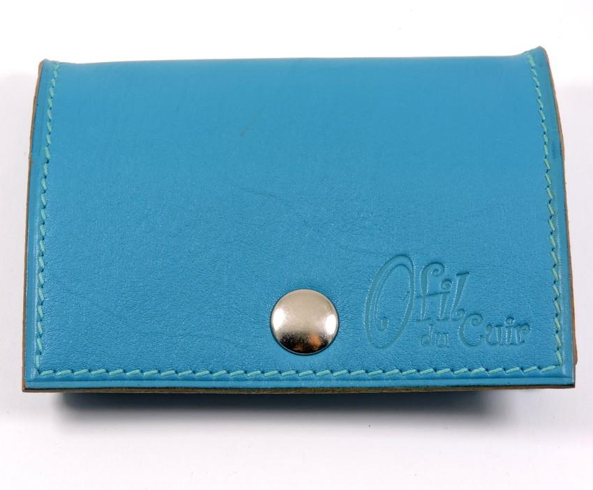 Porte monnaie cuir maroquinerie femme lyon bleu turquoise maroquinerie