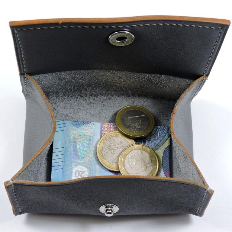 Porte monnaie cuir maroquinerie femme lyon gris accessoire