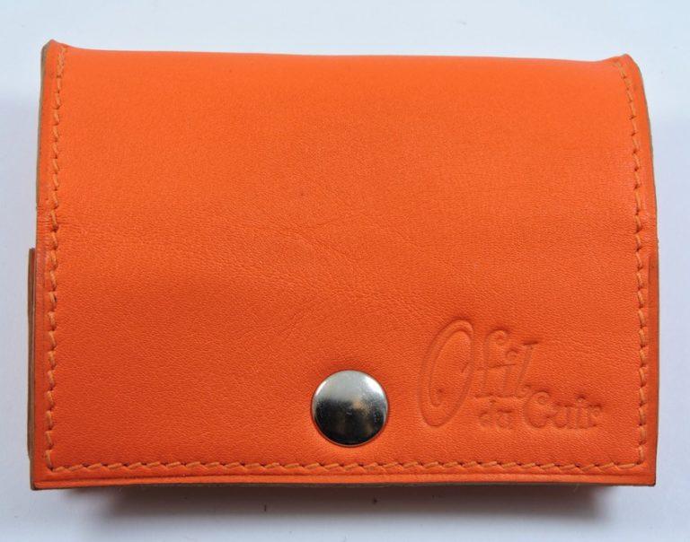 Porte monnaie cuir maroquinerie femme lyon orange accessoire ofilducuir