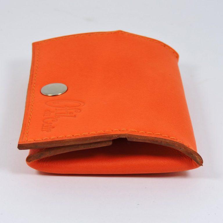 Porte monnaie cuir maroquinerie femme lyon orange maroquinerie