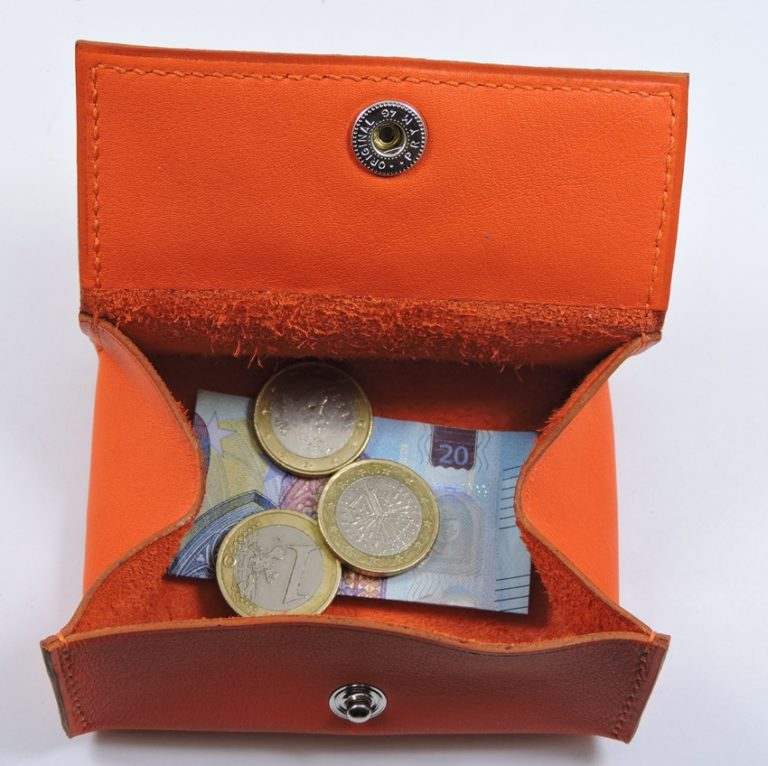 Porte monnaie cuir maroquinerie femme lyon orange