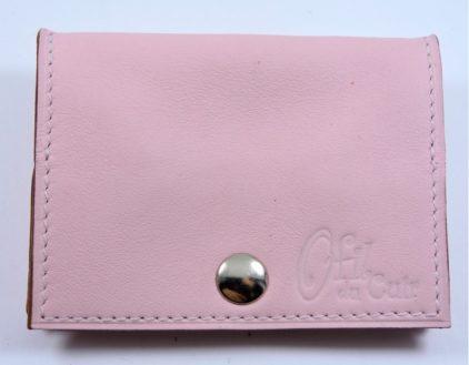 Porte monnaie cuir maroquinerie femme lyon rose pâle maroquinerie