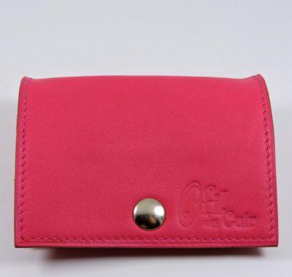 Porte monnaie cuir maroquinerie femme lyon rose ofilducuir