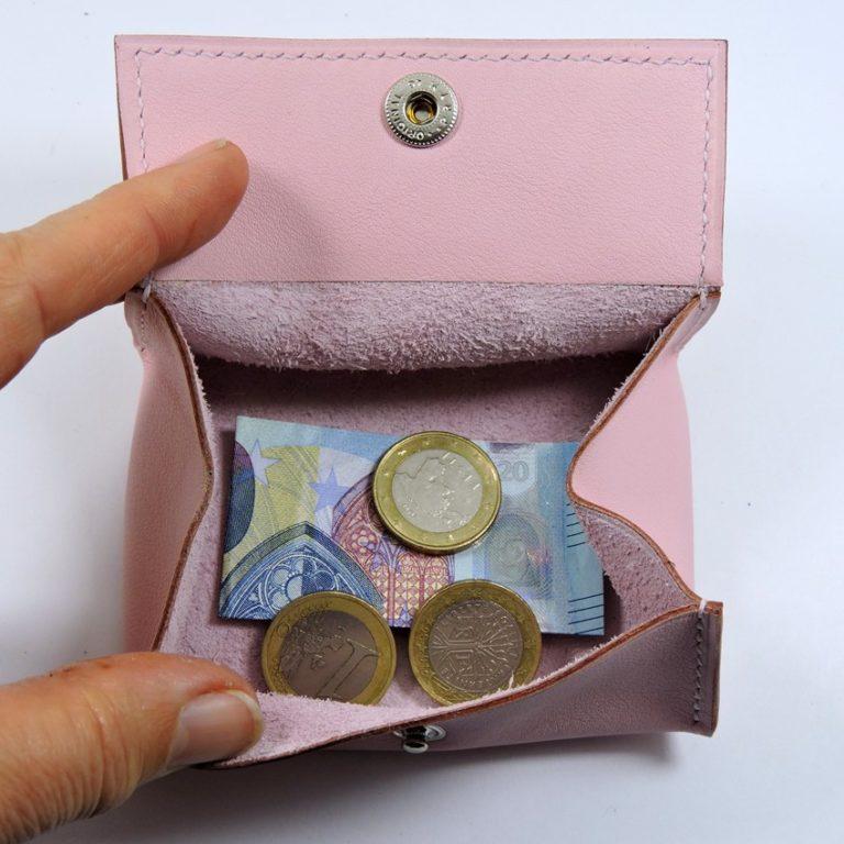 Porte monnaie cuir maroquinerie femme lyon rose pâle