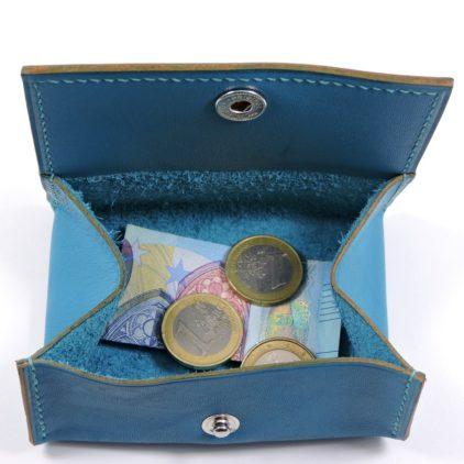 Porte monnaie cuir maroquinerie femme lyon turquoise