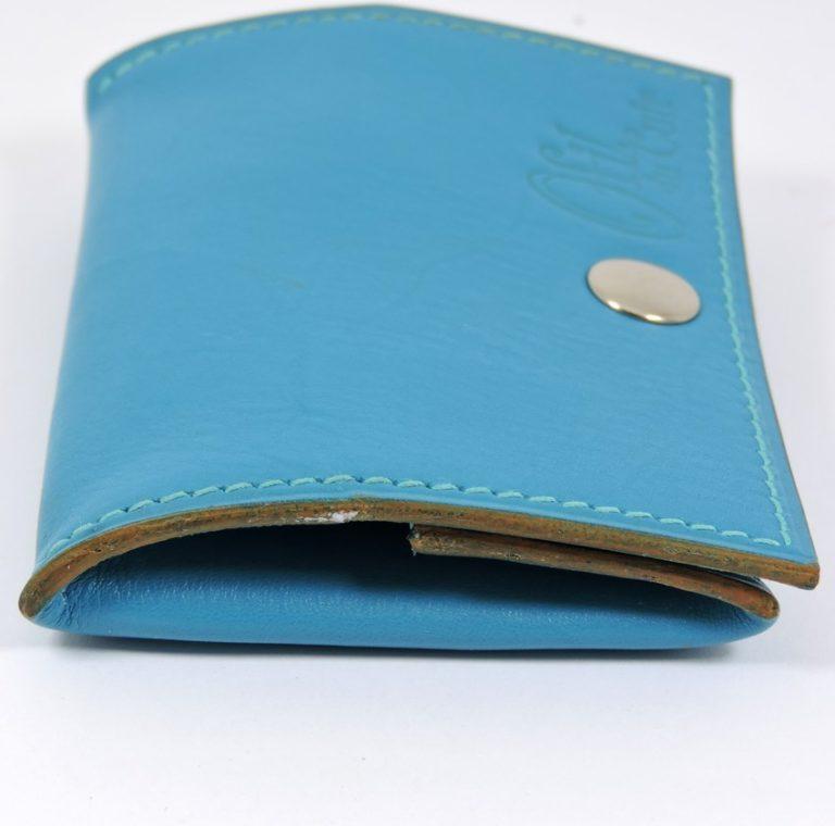 Porte monnaie cuir maroquinerie femme lyon bleu turquoise