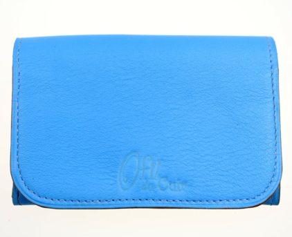 Porte monnaie cartes bancaires papier maroquinerie Lyon femme cuir bleu portefeuille