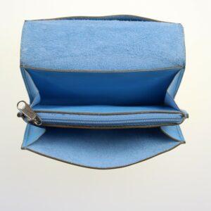 Porte monnaie cartes bancaires papier maroquinerie Lyon femme cuir bleu