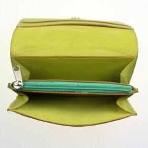 Porte monnaie cartes bancaires papier maroquinerie Lyon femme cuir vert anis
