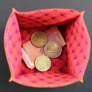 Porte monnaie origami cuir maroquinerie Lyon femme cuir fuchsia