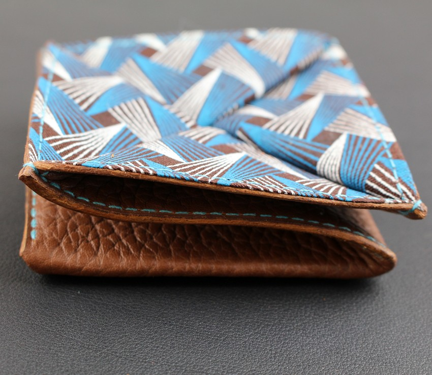Porte monnaie origami cuir maroquinerie Lyon femme cuir marron accessoire