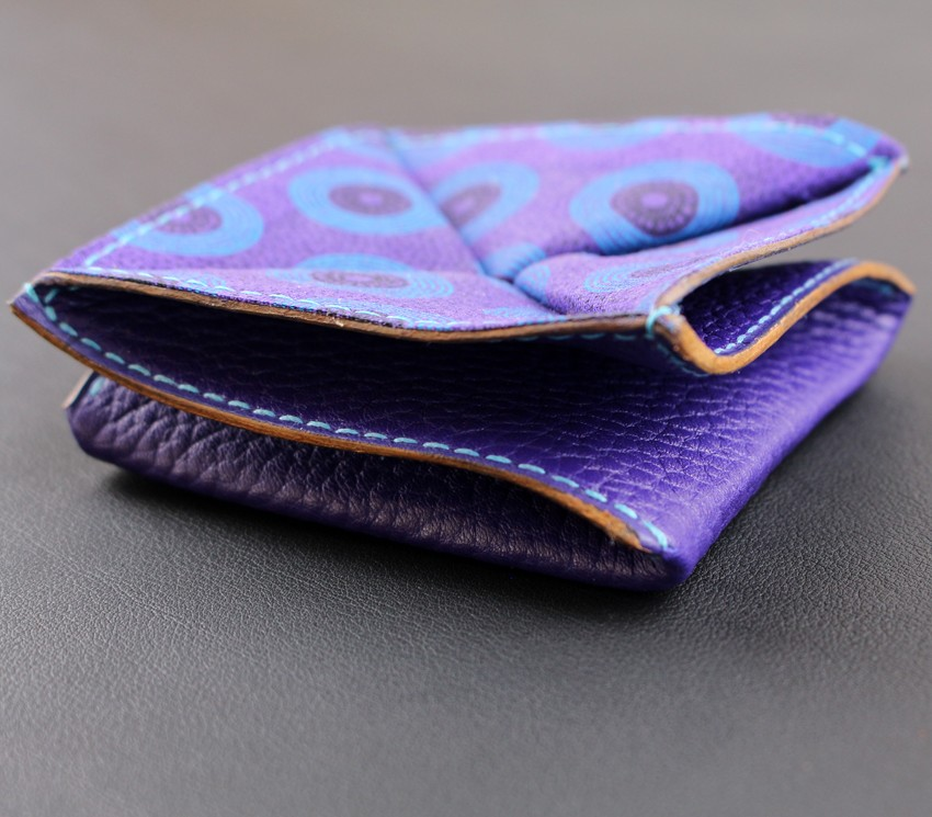 Porte monnaie origami cuir maroquinerie Lyon femme cuir violet