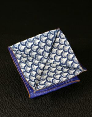 Porte monnaie origami cuir bleu grainé tissu indigo