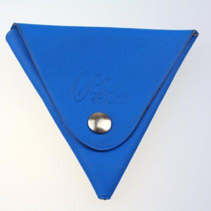 Porte monnaie triangle cuir homme bleu électrique