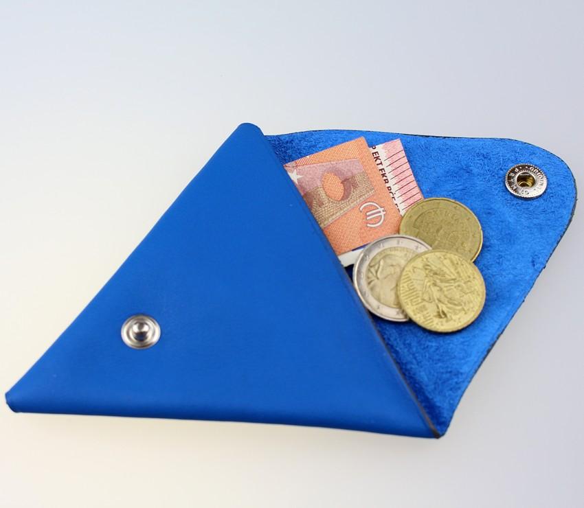 Porte monnaie triangle cuir homme bleu électrique accessoire