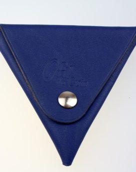 Porte monnaie triangle cuir homme bleu marine accessoire