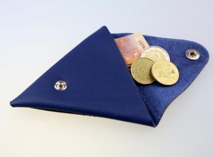 Porte monnaie triangle cuir homme bleu marine