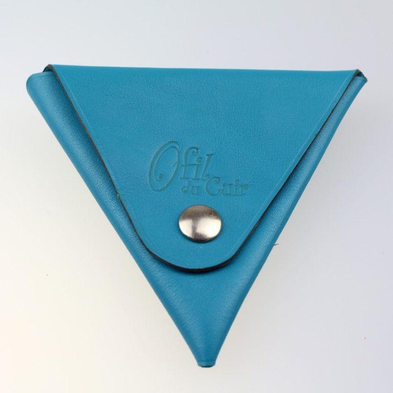 Porte monnaie triangle cuir femme bleu turquoise