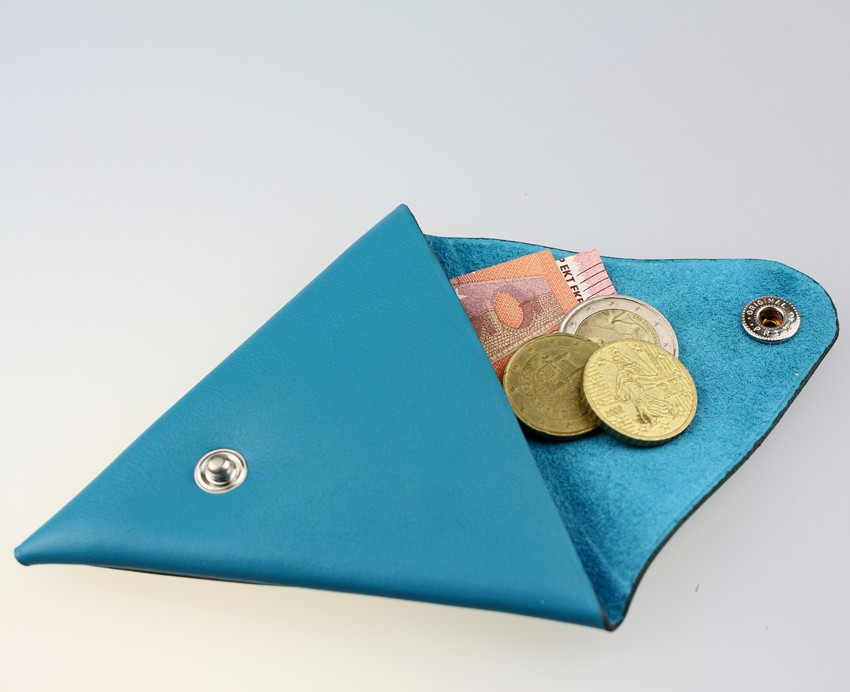 Porte monnaie triangle cuir femme turquoise