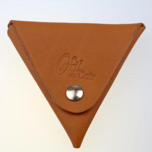 Porte monnaie triangle cuir femme camel accessoire