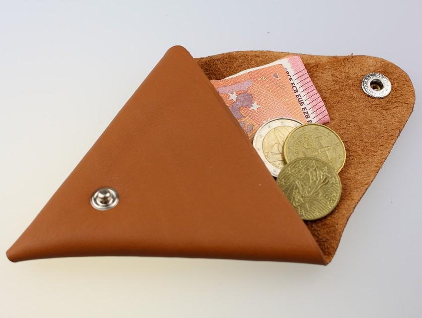 Porte monnaie triangle cuir femme camel