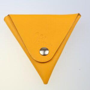 Porte monnaie triangle cuir femme orange orangé