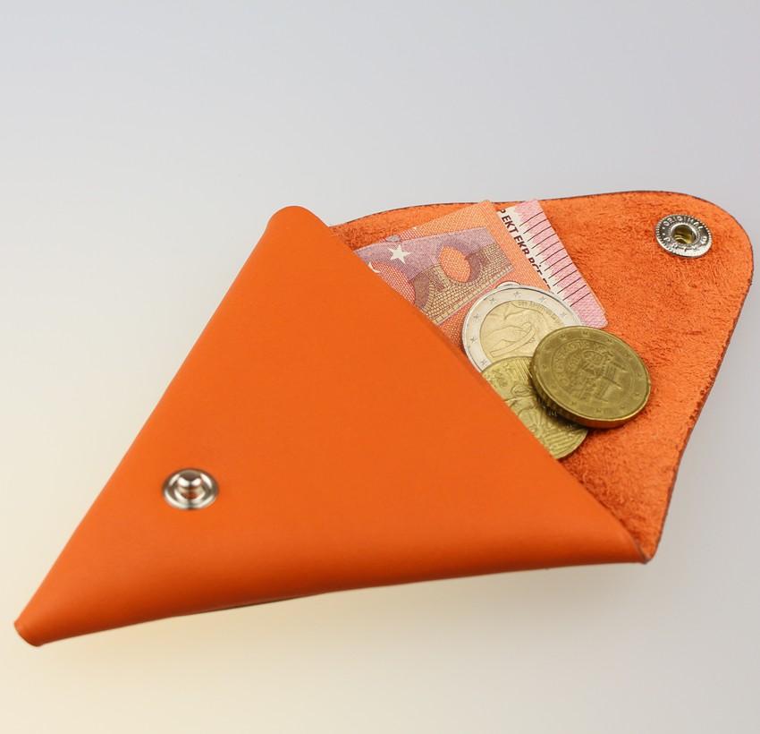 Porte monnaie triangle cuir femme orange accessoire