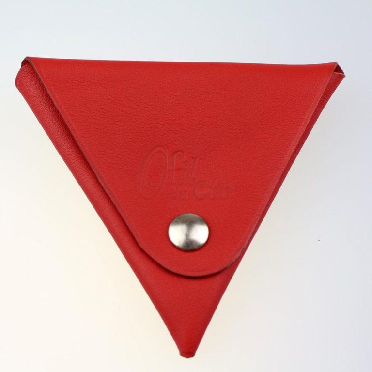 Porte monnaie triangle cuir homme rouge accessoire