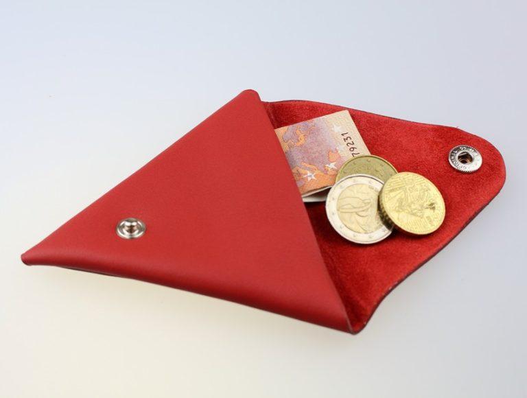 Porte monnaie triangle cuir homme rouge