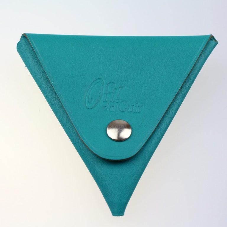 Porte monnaie triangle cuir homme vert accessoire