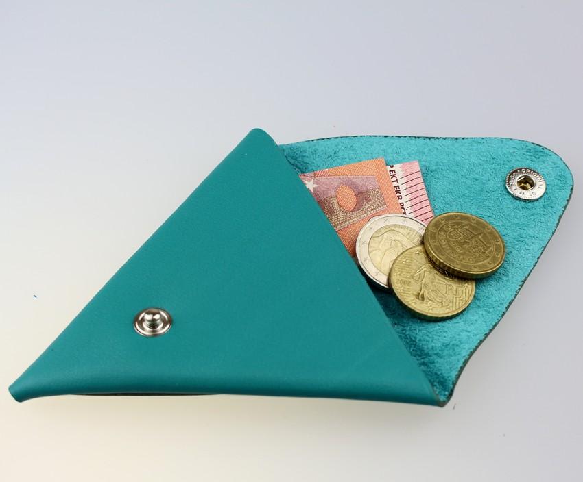 Porte monnaie triangle cuir homme vert