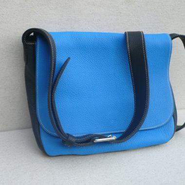 sac à main cuir besace noir femme cuir grainé maroquinerie lyon