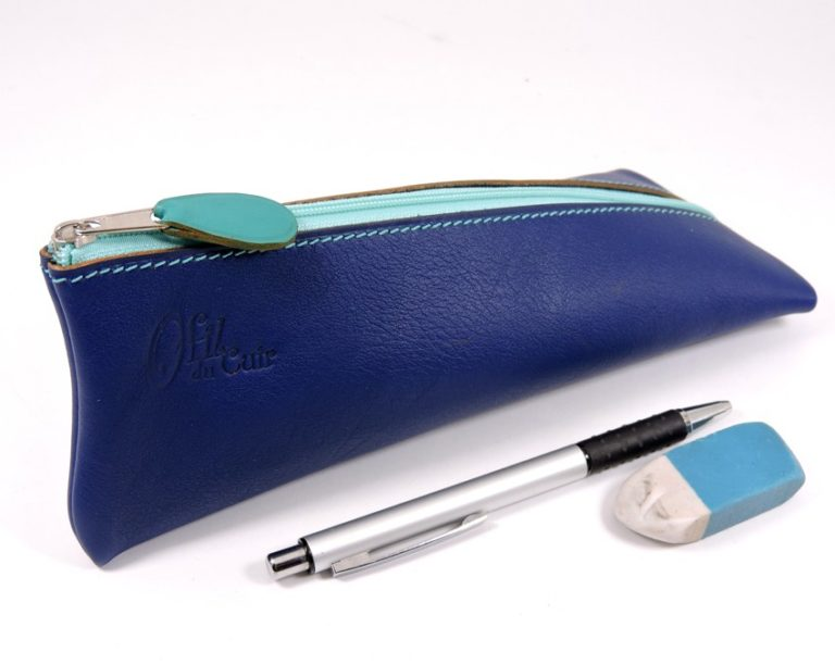 Trousse ecolier berlingot stylos bureau cuir bleu marine maroquinerie