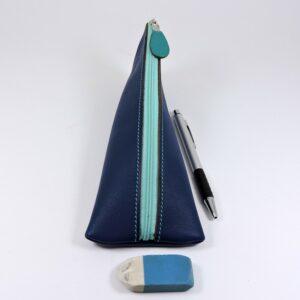 Trousse ecolier berlingot stylos bureau cuir bleu marine