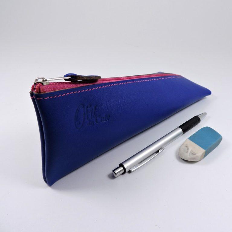 Trousse ecolier berlingot stylos bureau cuir bleu saphir mroquinerie