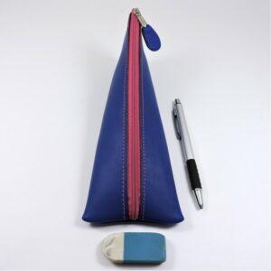 Trousse ecolier berlingot stylos bureau cuir bleu saphir