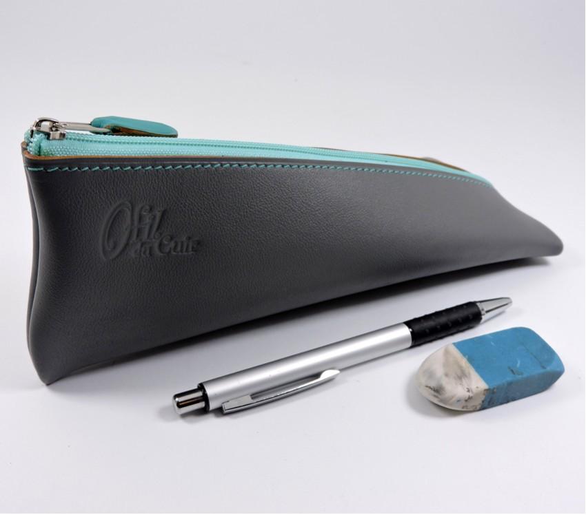 Trousse ecolier berlingot stylos bureau cuir gris maroquinerie