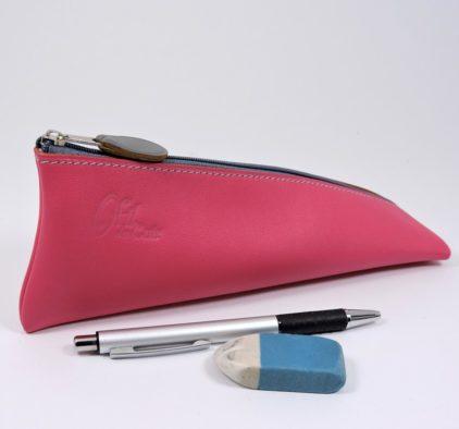 Trousse ecolier berlingot stylos bureau cuir fuchsia maroquinerie