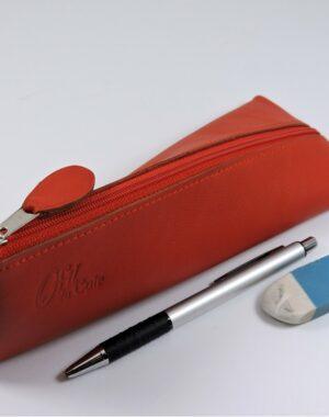 Trousse ecolier berlingot stylos bureau cuir rouge maroquinerie